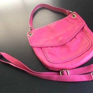 Pink Fossil leather shoulder/cross body bag